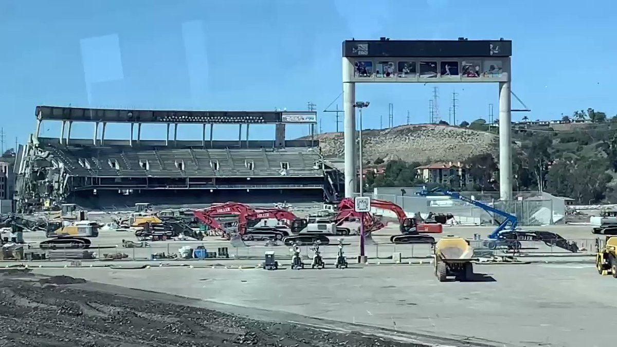 One last dagger. Demolition of San Diego Stadium as seen from Trolley on February 28, 2021. @MLBcathedrals