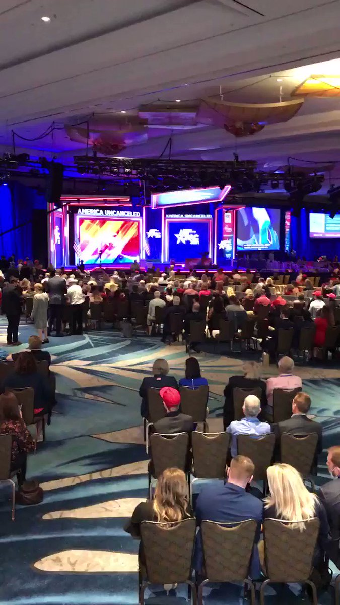 Trump behind schedule at CPAC, but the crowd - and it is a crowd - seems content to wait and cheer. bbc.com/news/world-us-…