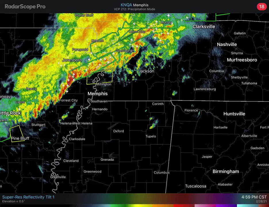 The line of thunderstorms approaching Memphis will enter Northwest Alabama later tonight… Small hail and strong gusty winds will be possible. An isolated tornado is possible, but not likely. https://t.co/wV1cLXQeH6