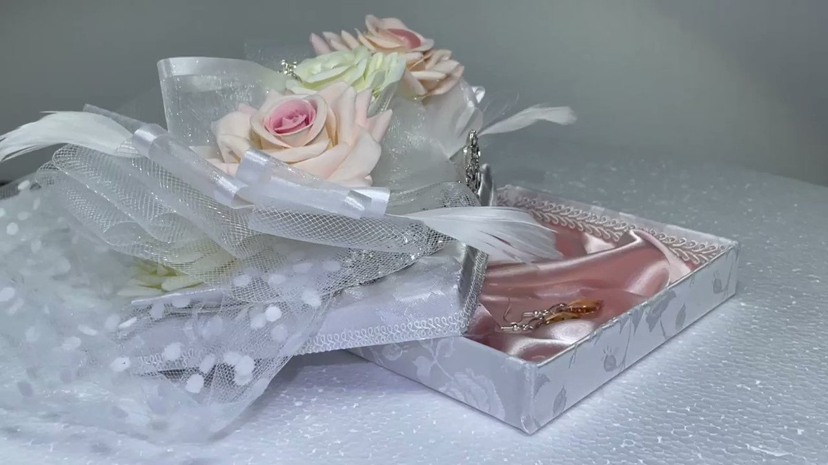 *  #WeddingCake #Jewelry #GiftBox for the new #Bride.  Includes #Gift #Earrings inside.  On #Sale now at #Etsy:  😍👉    *  #Princess #Tiara #Wedding #GiftsForHer #BrideToBe #BridalShower #HomeDecor #Travel #Victorian #Romantic #Garden #Flowers #Love