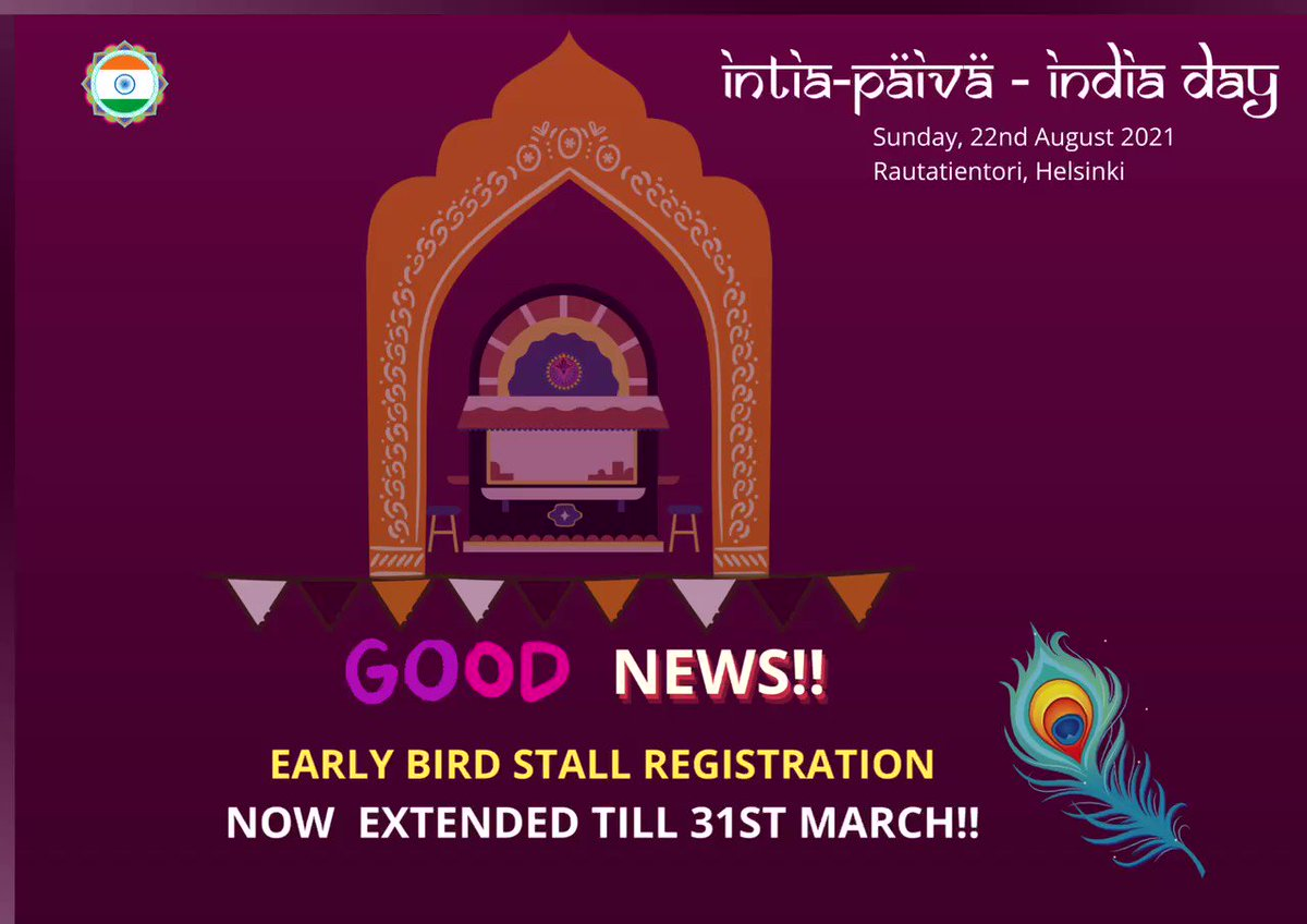 Good News!!! Early bird offer for stall registrations now extended to 31st March 2021! Book now to get the early bird prices! Registration form:   #intia #intiapäivä #intiapaiva2021 #food #indianfood #streetfood #March #Finland #butterchicken #helsinki