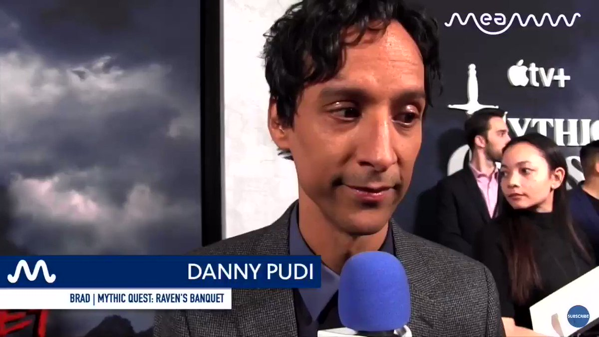 wow danny pudi meows at mythic quest red carpet #GoldenGlobes  this is so funny just like larry king larry im on ducktales interview also community that is also funny haha https://t.co/VHyzE0lDtk