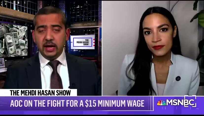 """""""Any person who thinks that a $15 minimum wage is the 'crazy socialist agenda' is living in a dystopian capitalist nightmare."""" -@AOC"""