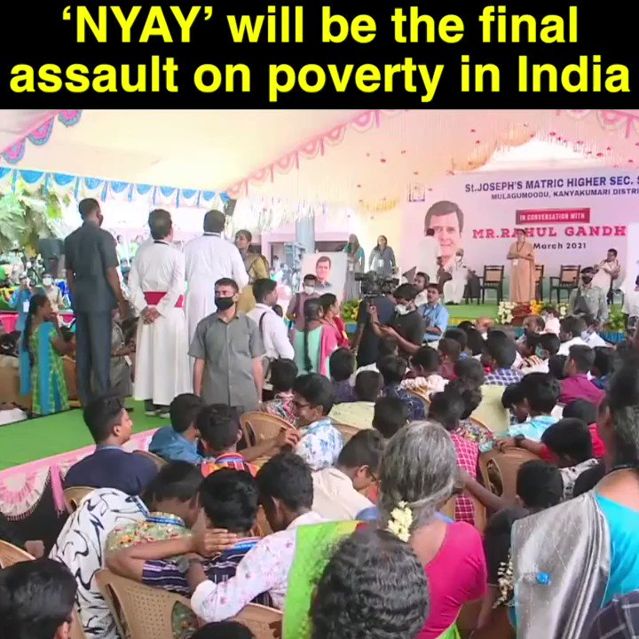 Idea under 'NYAY' scheme is to give ₹ 72000 to every single poor Indian family, each year, until they are out of poverty. If we form a Govt, we will implement this scheme. It'll be a matter of 5-6 years before we completely eradicate poverty: Shri @RahulGandhi #TNwithRahulGandhi