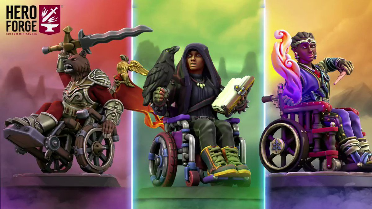 In honor of #InternationalWheelchairDay, we are excited to announce the addition of Wheelchairs to Hero Forge!  Now your heroes can now choose from three Wheelchair styles in the Mount menu: The Modern Wheelchair, Fantasy Town Wheelchair, and Fantasy Battle Wheelchair. (1/2)