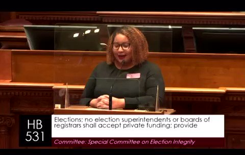 """My message to a #GOP determined to silence voters that look like me:  """"Republicans we see your white supremacy. We will NEVER get tired of fighting it and most importantly WE WILL DEFEAT IT.""""   #gapol #votersuppression #HB531 https://t.co/v80bfdY8Nt"""