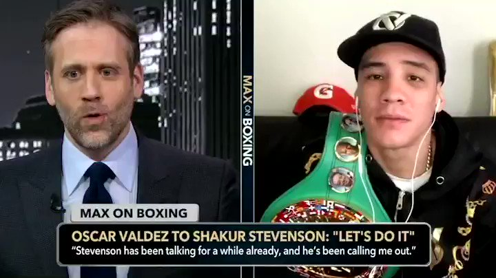 """""""I'm not scared of no fighter, I duck no fighter… So let's do it!"""" @OscarValdez56 told @MaxKellerman that he's willing to fight @ShakurStevenson next."""