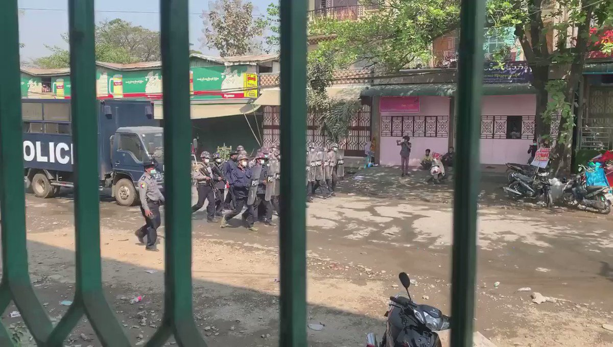 WATCH: Today in Kalay, Sagaing Region. Reportedly at least two were killed on the spot. #WhatsHappeningInMyanmar