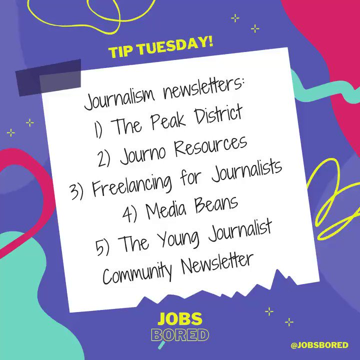 📋Are you looking to subscribe to a new journalism newsletter? We thought for this #TipTuesday wed list some of the media jobs, advice and new reading newsletters that grace our @JobsBored inbox.📬 Have we missed a great one? Comment below!⤵️