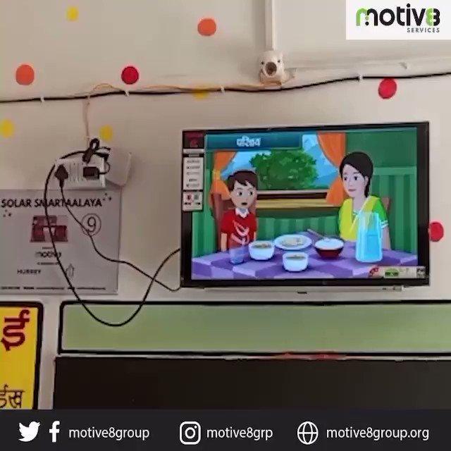 Solar Smartaalaya installed in  Rajkiyakrut Utkrimit Madhya Vidyalaya, Sanga.This video showcases the successful functioning of the TV set with  help of solar panels to pave the way for better learning of students.#motive8 #solarsmartaalaya #education #MakeInIndia #DigitalIndia
