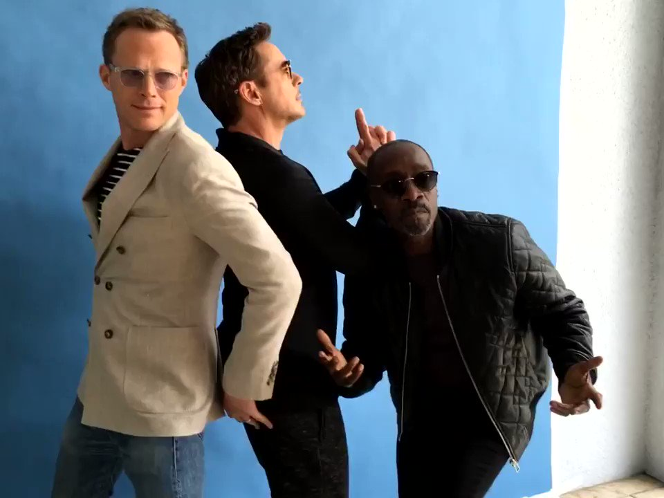 "Here's a fun #retrodowneyjr for ya...here's @DonCheadle , @Paul_Bettany & I...I call it ""Fury's Angels"". We were all a little cheeky that day!"