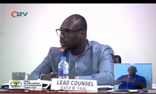 """""""Even if you fitti fatta, you will answer"""" Lead Counsel of @TRRC_Gambia pins down witness, warning against Contempt and risk of sending to Mike 2. #Gambia #NeverAgain"""