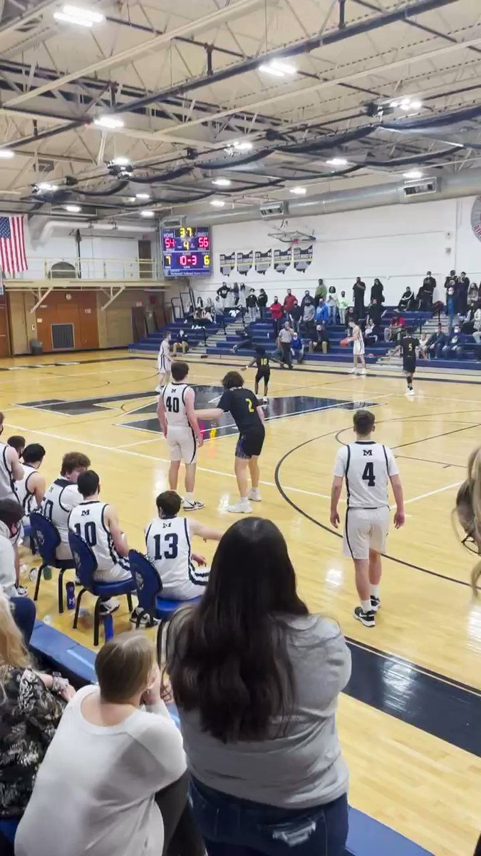 McDonald Eli Street from threeeeeeeeee sending the Blue Devils to the D4 District Championship Game with a 57-56 win over Valley Christian.  @edstreet13 @McDBlueDevils
