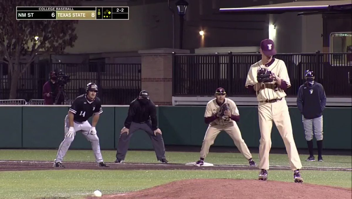 M8 | @OttoWofford with 2 strikeouts including 1 to end the inning to maintain the lead. TXST 8, NMSU 6 #EatEmUp #ComebackStrong