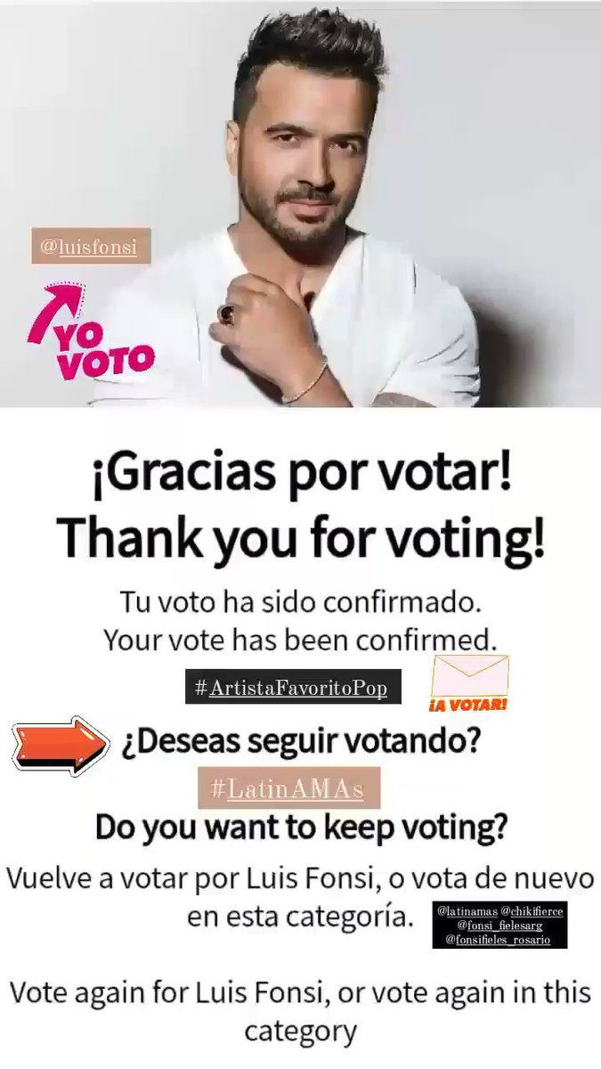 Voté por @LuisFonsi como #ArtistaFavoritoPop para Latin AMAs 2021, tú también puedes hacerlo en  JUEVES 15 DE ABRIL - 7PM/6C por @Telemundo #LatinAMAs @LatinAMAs @fonsi_fielesarg @FFieles_Rosario 💙🎶