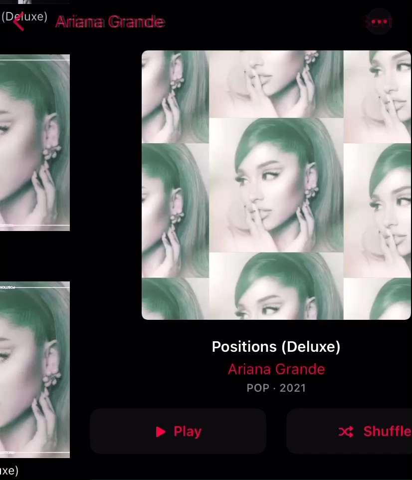 WHOA WHAT THE HELL IS THIS??!!!  does anybody else have this going on with #positions #positionsdeluxe album cover on #AppleMusic @AppleMusic @ArianaGrande this is the first time i've seen it or paid attention, i guess...