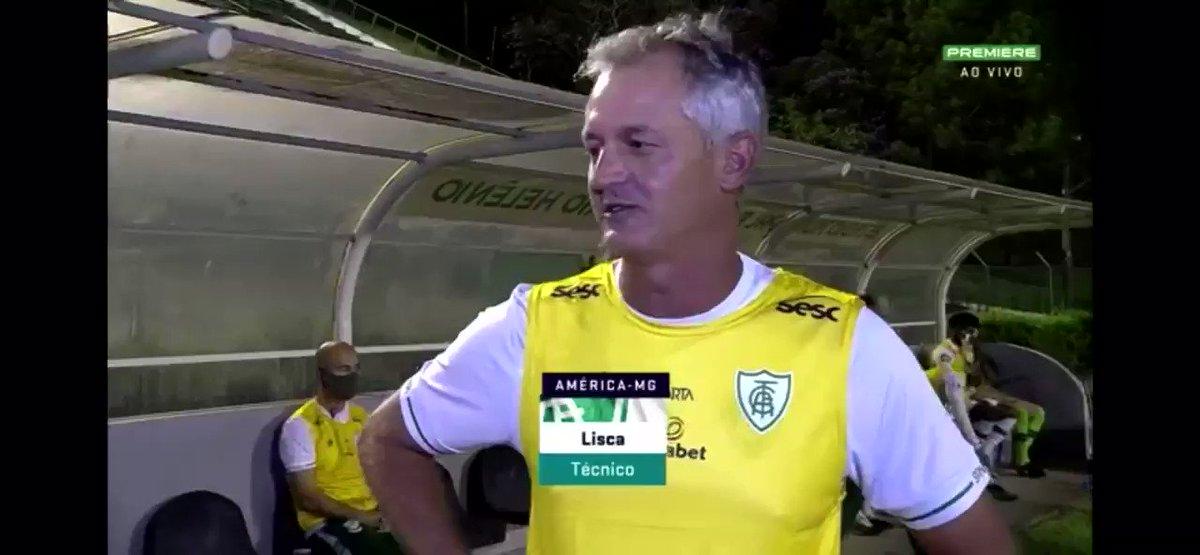 """Lisca fez um forte desabafo antes do jogo do América sobre a questão da COVID. """"Eu tô perdendo amigos treinadores, eu tô perdendo amigos, o Brasil parou, estamos apavorados""""."""