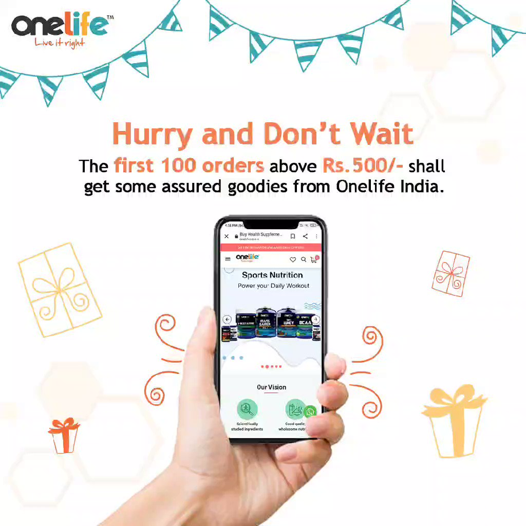 Hurry and make most of the New Experience which awaits YOU 🌸🌟💥  The first 100 orders get some assured goodies from us @OneLife_IN 💥  #newwebsite #ContestAlert #contentmarketing #Giveaway #Giveaways #GiveawayAlert #FridayMotivation #onelife