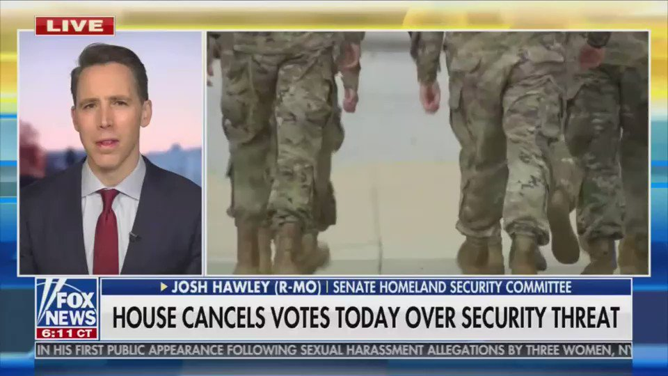On the day that the House is shut down because of a threat of violence, pro-insurrection Sen. Josh Hawley rails against National Guard troops being stationed at the Capitol