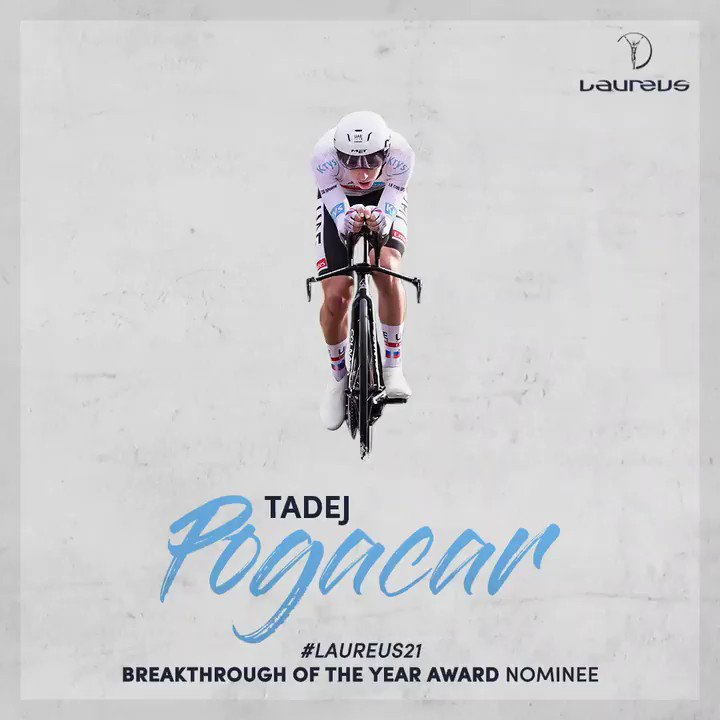 2020 @LeTour winner @TamauPogi sold his yellow jersey to raise €47,000 for talented young sportspeople from underprivileged families in Slovenia 🙏 The #Laureus21 Breakthrough of the Year Award Nominee regularly gives back to his sport & is an inspiration on and off his bike 🤩