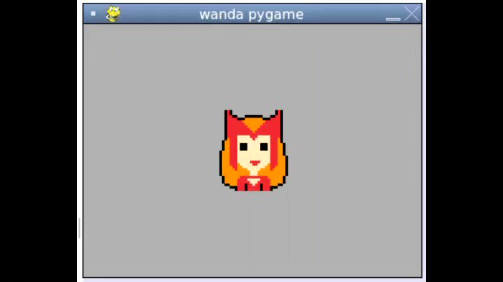 We're back to working with #Pygame in #Python class this week! Handling mouse events with this #wandavision themed project.