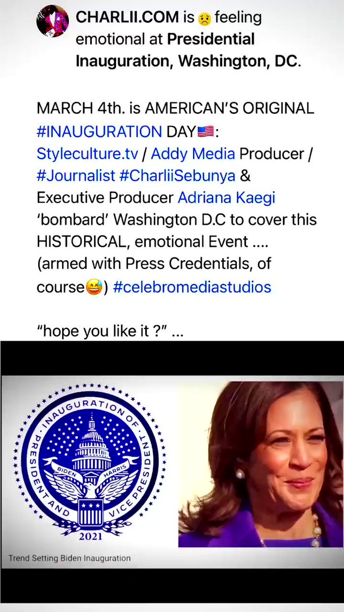 MARCH 4th. AMERICAN'S ORIGINAL #INAUGURATION DAY🇺🇸: @StylecultureT V/ #AddyMedia Producer/#Journalist #CharliiSebunya & Executive Producer @adrianakaegi (@ADDYmedia ) 'bombard' D.C to cover this HISTORICAL emotional Event(armed w/Press Credentials of course) #celebromediastudios
