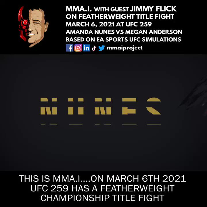 #UFC flyweight Jimmy Flick prediction for #ufc259 March 6 prediction for UFC 259 March 6  @Amanda_Leoa vs @MeganA_mma @ #ufcapex based on #EASPORTS #UFC4 simulations #ps4 #ps5 #Xbox  Jimmy is a former @LFAfighting flyweight champion  @jimmyflick #forzacombatsports #sandsprings