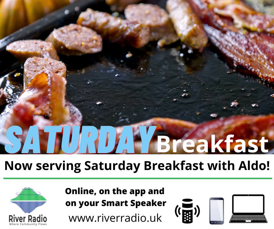 Starting tomorrow, Aldo will be serving you #SaturdayBreakfast from 8am through until 10am!  The best music and chat to start your Saturday morning! Online at , on the app and on your Smart Speaker!  #RiverRadio #LocalRadio #CommunityRadio #SaturdayMorning