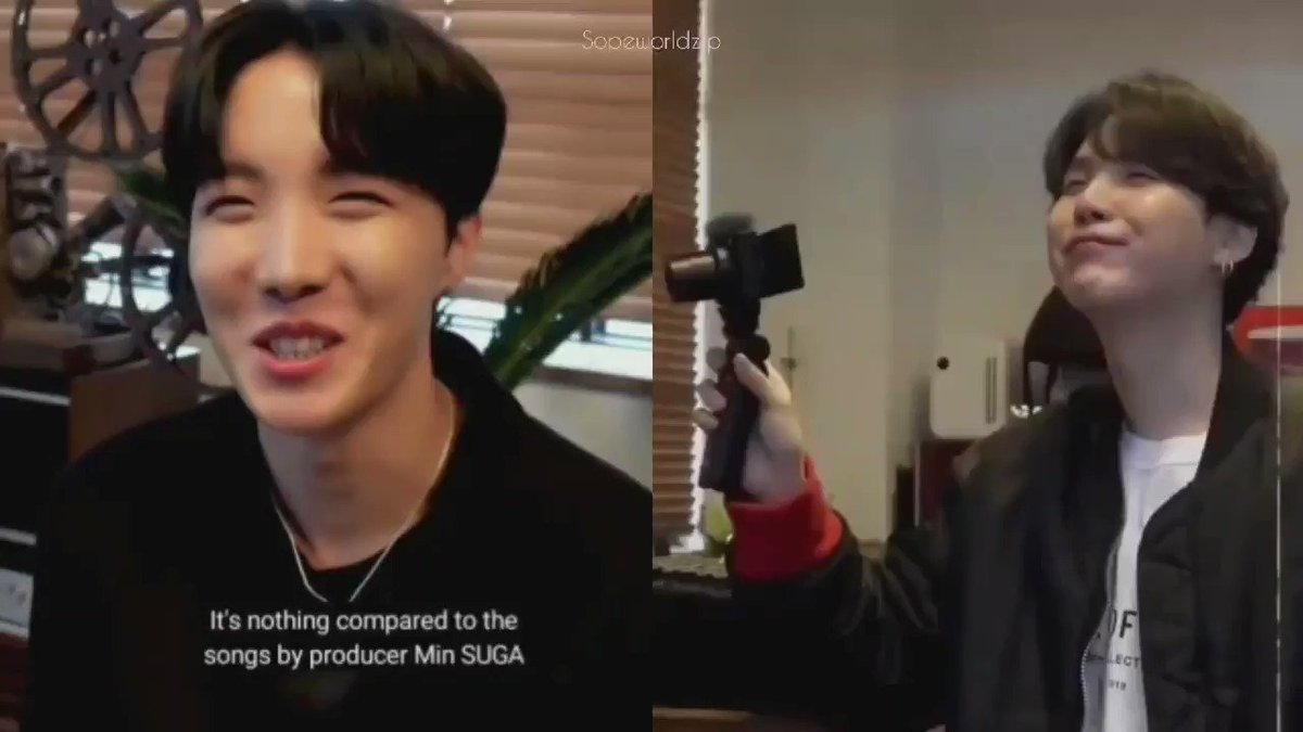 So this was Yoongi's reaction to hobi praising Prod Suga, his proud smile 😭