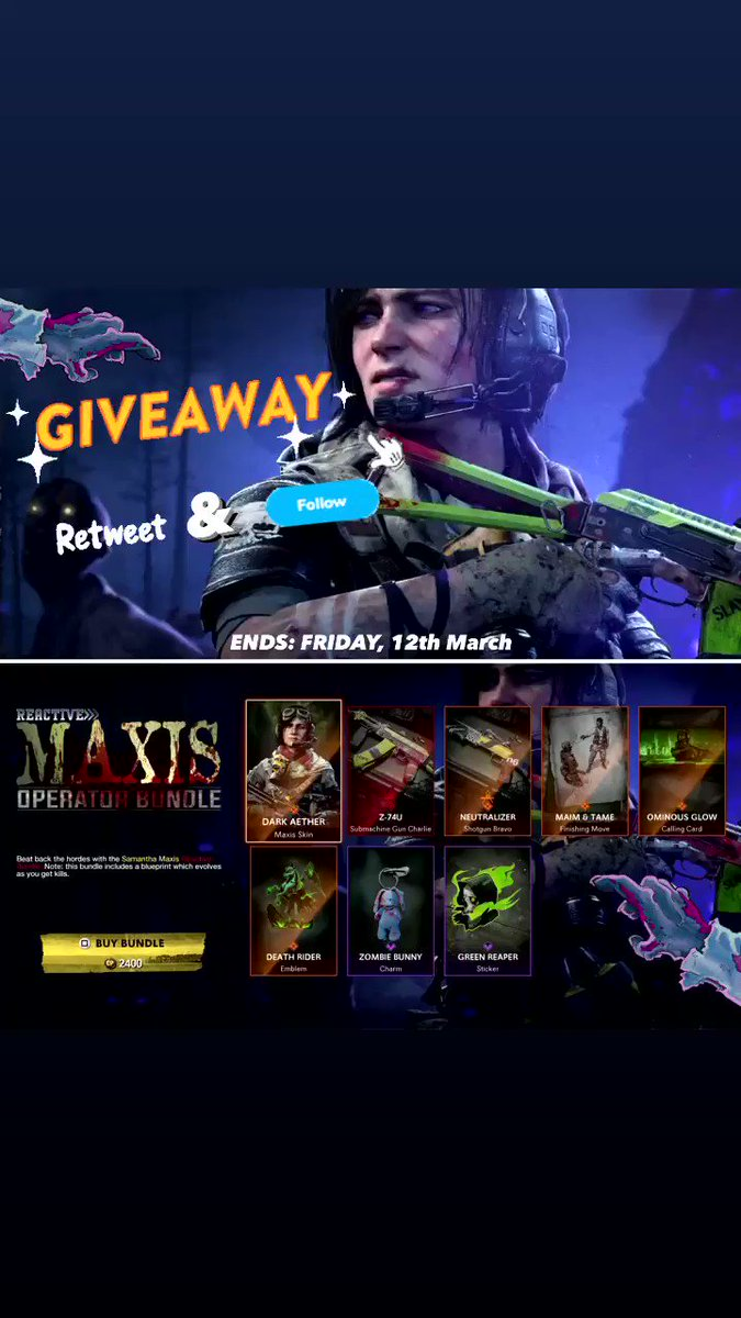 🧟‍♀️🎁 ***GIVEAWAY*** 🎁🧟‍♀️  We're Giving Away the Reactive Maxis Operator Bundle to use in #BlackOpsColdWar and #Warzone!   To Enter:   🔁 ReTweet this Tweet 🙋 Follow Us if you're not Already  (Xbox / PlayStation Players)   Ends: Friday, 12th March   Good Luck! ♥️