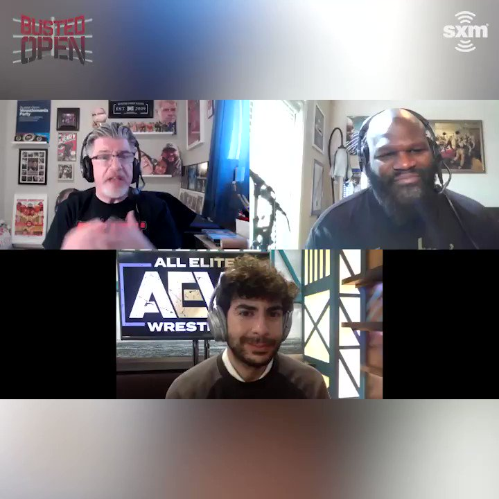"""It's one of my favorite wrestlers of all time...he's gonna do great things for us.""  @TonyKhan discusses with @davidlagreca1 & @TheMarkHenry the surprise @AEW signing that will show up on #AEWRevolution this Sunday 😯🤔"