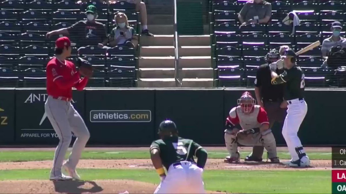 Ohtani with 5 K's today. Hit a ball 440 feet over the batters eye two days ago. https://t.co/g39fkO04rm