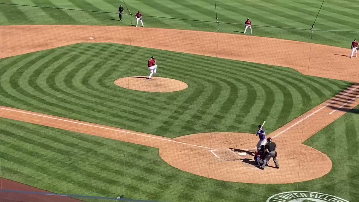 Here's the David Dahl hit by pitch last half inning. #Rangers https://t.co/ZIrT70pK0N