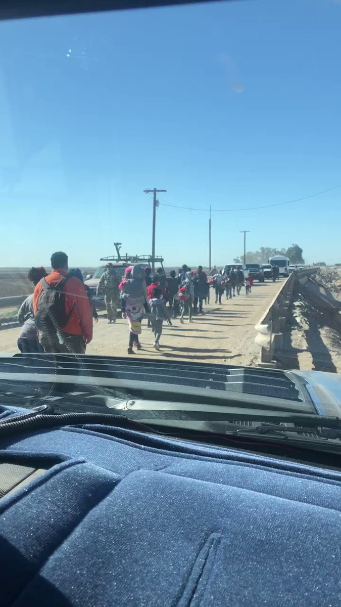 The tip of the iceberg near Yuma, AZ as immigrants begin to flood into the US responding to @JoeBiden's open border, catch and release policy.  How many have COVID?