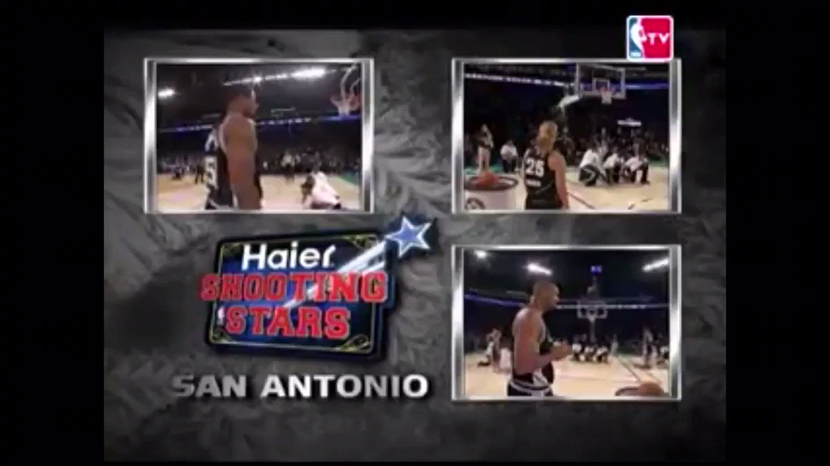 """Yow! """"The very best of the good #NBAAllStar days! when @DuncanRelief™ @BeckyHammon™ and @DavidTheAdmiral™ were selected to be at the #NBAAllStar Shooting Stars and Skills competition back in 2008 and they won."""" 👏🏽🏆🏀😎🍻🌴 #SpursTwitter™ #GoSpursGo"""