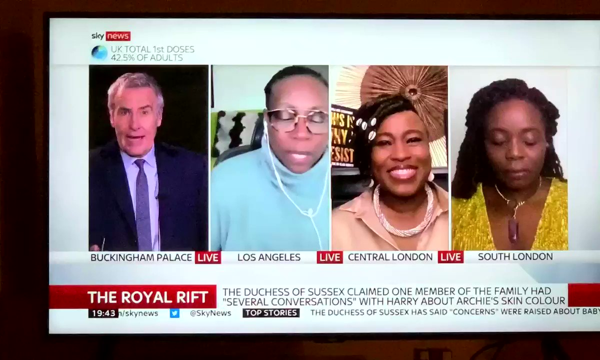 """I said mo gbé when @ginayashere said """"Done""""! The lambastation and the expressions @kelechnekoff @SholaMos1 for me! 🙌🏾🙌🏾🙌🏾@SkyNews!#letthesingletsbetorn #MeghanAndHarry"""