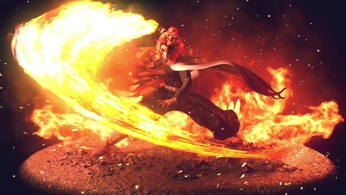 鬼滅の刃、煉獄杏寿郎を製作しました。 燃え盛る炎の熱い空気感を感じてもらえると嬉しいです。 #3dcg #cinema4d #鬼滅の刃 #煉獄杏寿郎 #DemonSlayer #rengoku