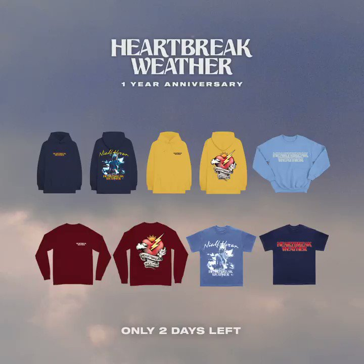 The Heartbreak Weather anniversary collection is only up for 2 more days ! Let me know what you think of the new merch https://t.co/FHzPXoyB2F https://t.co/6ZysP2lAL2