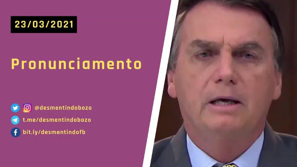 Pronunciamento de Jair Bolsonaro em 23/03/21 sobre vacinas e ações do governo. - 👉 Baixe o vídeo: https://t.co/6LKeDBn3Mr - #DesmentindoBolsonaro https://t.co/xHKK1SAI9J