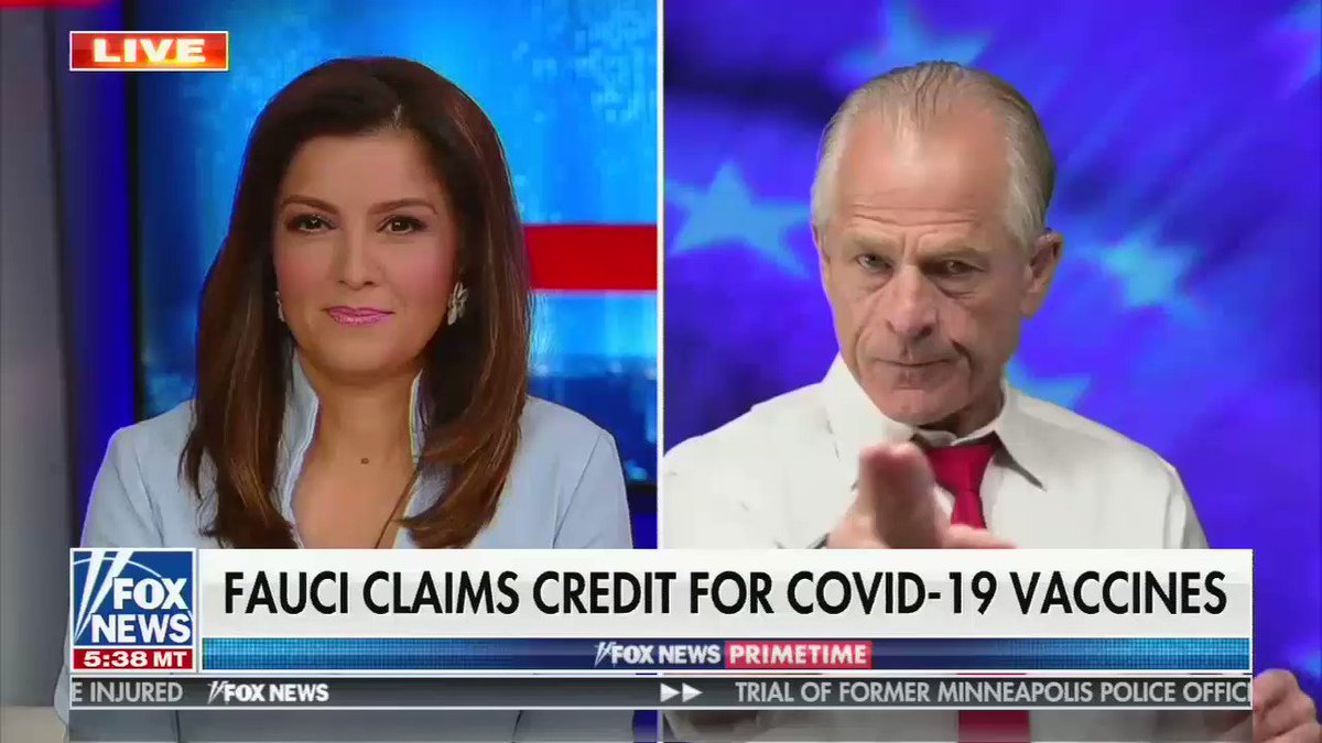 "Peter Navarro calls COVID-19 the ""Fauci Virus"" calling Fauci ""the father of"" the virus and accusing him of allowing China and the People's Liberation Army to ""genetically engineer"" COVID-19.   Host Rachel Campos-Duffy lets it slide. https://t.co/5pINTVc8Pc"