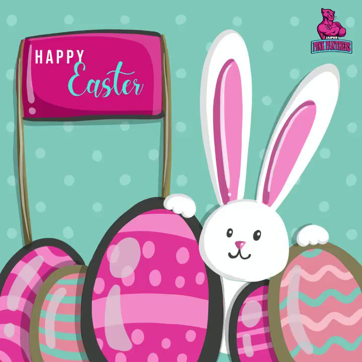 Happy Easter! We hope you're surrounded by sunshine, flowers, chocolate, and family on this happy day.  #Easter #PantherSquad #JaiHanuman #TopCats #JaipurPinkPanthers #JPP #Jaipur #vivoprokabaddi