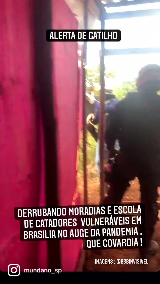 Revoltante a policia destruindo uma escola de catadores da #ocupaCCBBresiste com as pessoas dentro no auge da pandemia ! Tudo a mando do governador @IbaneisOficial e no auge da pandemia . Vídeo @bsbinvisivel https://t.co/vL52efQs0i