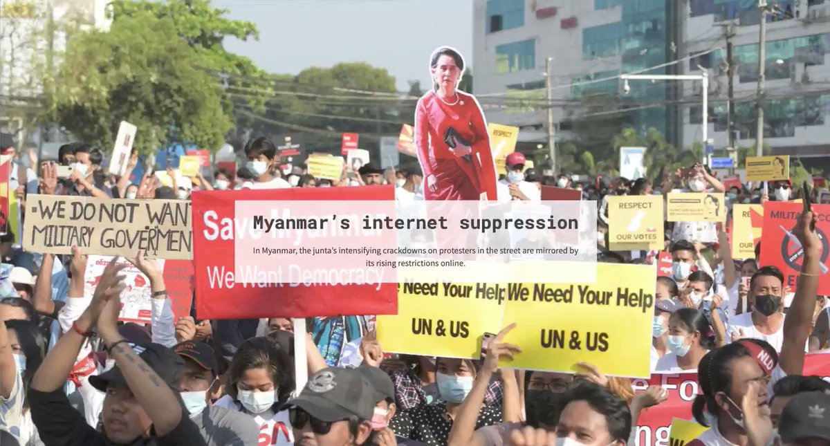 #WhatsHappeninglnMyanmar: Protests sweep Myanmar after the military overthrew elected leader Aung San Suu Kyi on Feb. 1. To suppress protests, the junta cut off nearly all internet access.   Here's how online suppression escalated:  https://t.co/QqgQYYDDnw @ReutersGraphics 1/4 https://t.co/4nCgrAH4uv