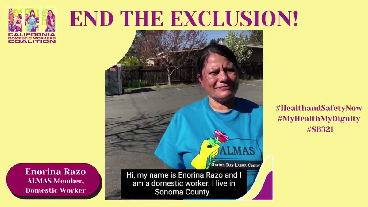 @SenJohnLaird @SenHenryStern @CAgovernor Domestic workers like Enorina Razo have had to work through the pandemic while being excluded from basic worker safety protections. Can we count on your support for #SB321 to end this exclusion now #MyHealthMyDignity