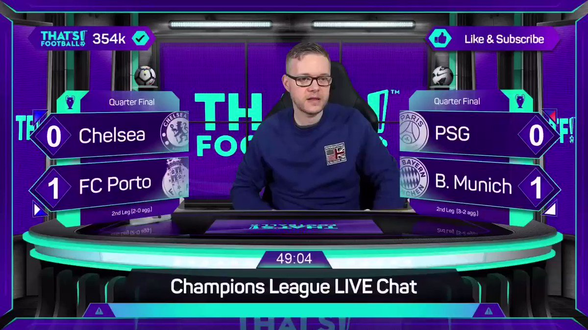 PSG and Chelsea are through to #ucl semi finals.  Who will join them? Tune in tomorrow night LIVE with @markgoldbridge! https://t.co/r0rz4Wii2P