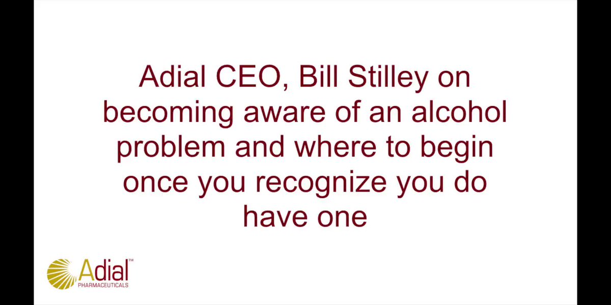 """Alcohol addiction has an incredibly negative impact on the world. Every single one of us knows somebody with a problem or has been directly affected by the problem."" - Adial CEO @BillStilley. Help us raise awareness this #AlcoholAwarenessMonth"