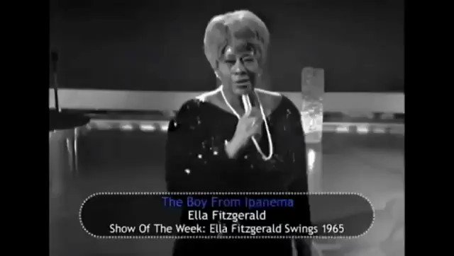 The first lady of jazz, Ella Fitzgerald, performed The Girl From Ipanema in 1965 in a different and original way. When presenting the song on the TV show Show Of The Week, she changed the lyrics, transforming the girl into a boy from Ipanema. https://t.co/5YmGbzPH4y