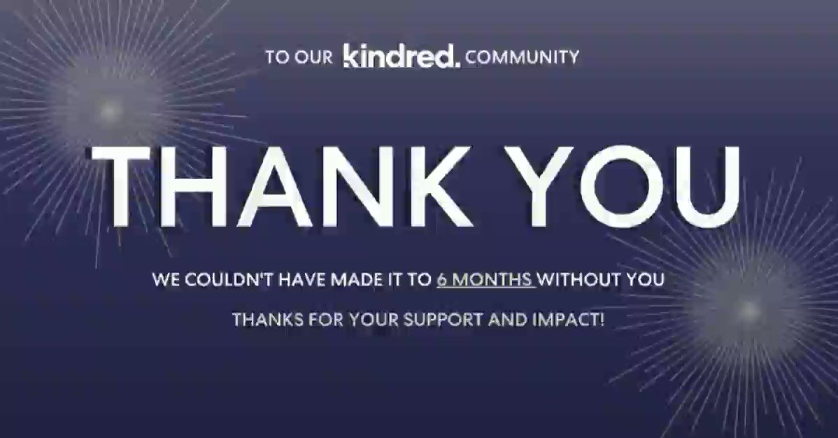 Image for the Tweet beginning: Six months ago, Kindred opened