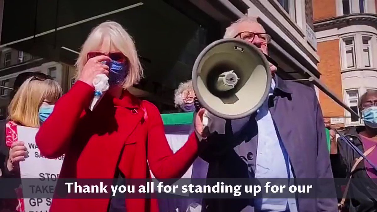 """It's our NHS, it's not for sale and we will campaign until hell freezes over to keep it public and keep it our National Health Service.""  Watch @jeremycorbyn speak at a protest outside a subsidiary of Centene, the US private health group taking over 49 GP practices. https://t.co/cg9OXabPg3"