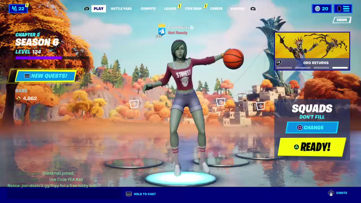 """Encrypted """"BasketBall Dribble"""" emote!  (ID was found by @FNinformation, video by @Guille_GAG & me!) https://t.co/tgo8acE6yw"""